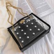 Lovely Casual Dot Printed Black Messenger Bag