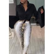 Lovely Chic Flare Sleeves Knot Design Black Blouse