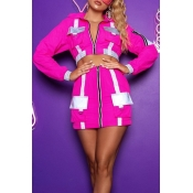 Lovely Trendy Turndown Collar Pockets Design Rose