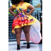 Lovely Trendy Asymmetrical Yellow Mini Plus Size D