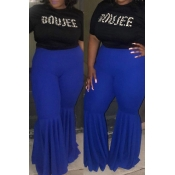 Lovely Casual Flounce Design Blue Plus Size Pants