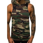 Lovely Casual Camouflage Printed Army Green Vest
