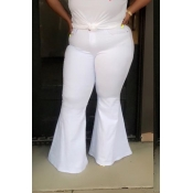 Lovely Casual Flounce Design White Plus Size Pants