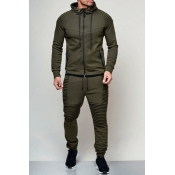 Lovely Casual Hooded Collar Army Green Two-piece P