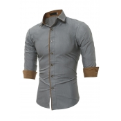 Lovely Casual Turndown Collar Buttons Design Grey
