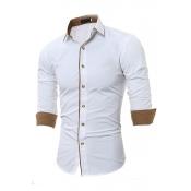 Lovely Casual Turndown Collar Buttons Design White