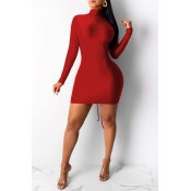 Lovely Work Turtleneck Wine Red Mini Wrapped Dress