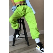 Lovely Casual Elastic Waist Green Loose Pants(With