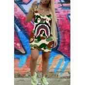 Lovely Trendy U Neck Sleeveless Printed Green Mini