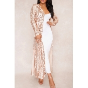 Lovely Casual See-through Apricot Sequined Long Co