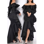 Lovely Sweet Off The Shoulder Flounce Design Black