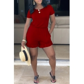 Lovely Leisure Flounce Design Red One-piece Romper