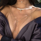 Lovely Fashion Hollow-out Gold Metal Body Chain(Wi