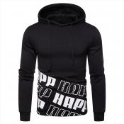Lovely Casual Hooded Collar Printed Black Hoodies(