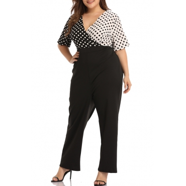 Lovely Casual V Neck Dot Printed Patchwork Black Plus Size One-piece Jumpsuit