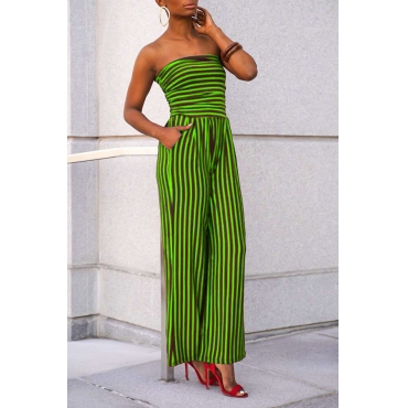 Lovely Casual Off The Shoulder Striped Green One-piece Jumpsuit