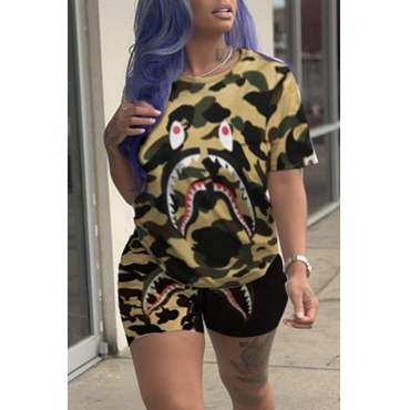 Lovely Casual Camouflage Printed Yellow Two-piece Shorts Set