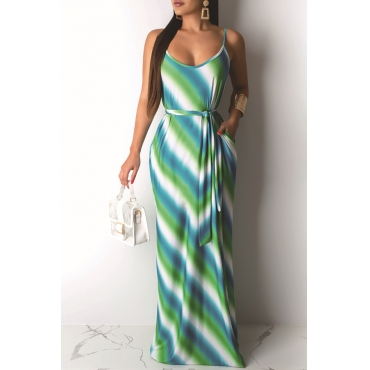 Lovely Casual U Neck Spaghetti Straps Striped Green Floor Length Printed Dress