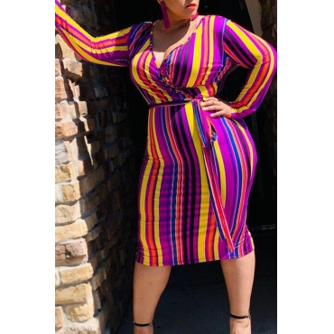 Lovely Stylish V Neck Striped Multicolor Knee Length Plus Size Dress