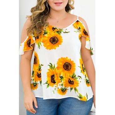 Lovely Bohemian Spaghetti Straps Sunflower Printed Multicolor Plus Size Blouse