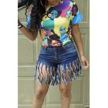 Lovely Casual O Neck Printed Blue T-shirt