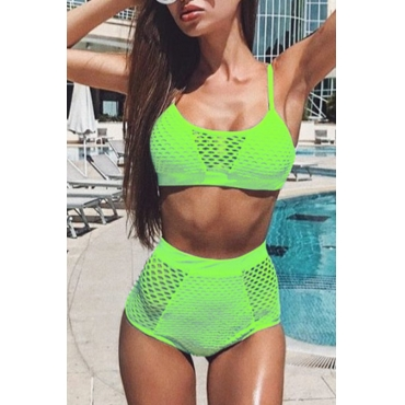 Lovely Spaghetti Straps Hollow-out Green Two-piece Swimwear