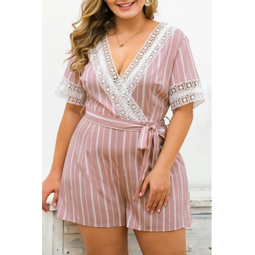 Lovely Bohemian V Neck Striped Lace-up Pink Plus Size One-piece Romper