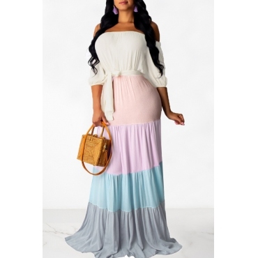 Lovely Sweet Off The Shoulder Patchwork Multicolor Floor Length Dress