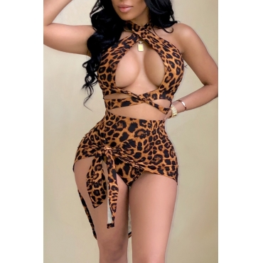 Lovely Sexy Halter Neck Leopard Printed Hollow-out Yellow Two-piece Shorts Set