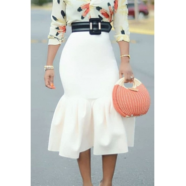 Lovely Stylish Ruffle Design White Mid Calf Skirt
