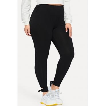 Lovely Casual Knot Design Black Plus Size Pants