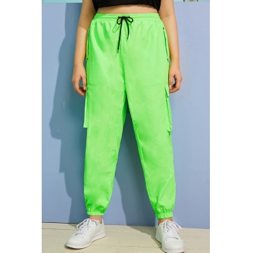Lovely Casual Pockets Design Green Plus Size Pants