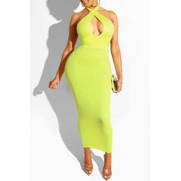 Lovely Sexy Hollow-out Green Ankle Length Prom Dress