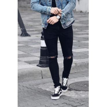 Lovely Chic Broken Holes Black Jeans