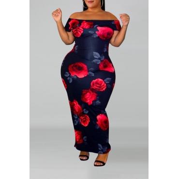 Lovely Trendy Rose Printed Dark Blue Floor Length Dress