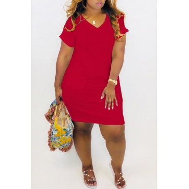 Lovely Casual V Neck Red Mini Dress