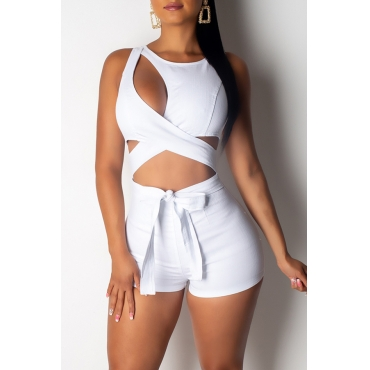 Lovely Sexy Hollow-out White One-piece Romper