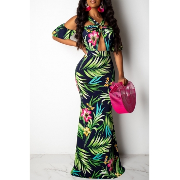 Lovely Sexy Halter Neck Printed Hollow-out Green Floor Length Prom Dress