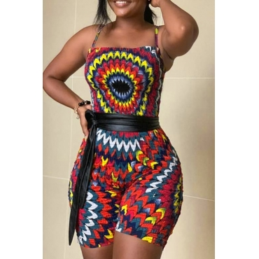 Lovely Casual Printed Lace-up Multicolor One-piece Romper