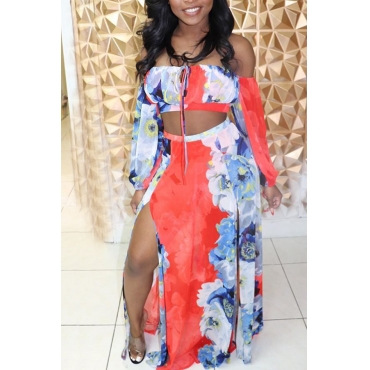 Lovely Bohemian Off The Shoulder Printed Jacinth Two-piece Skirt Set