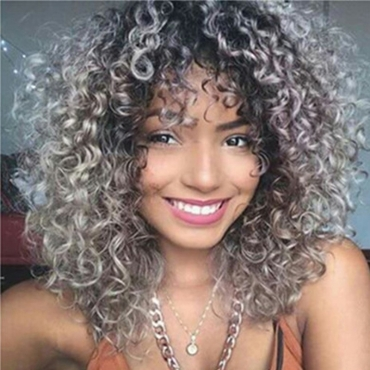Lovely Stylish Grey Hign-temperature Resistance Curly Hair