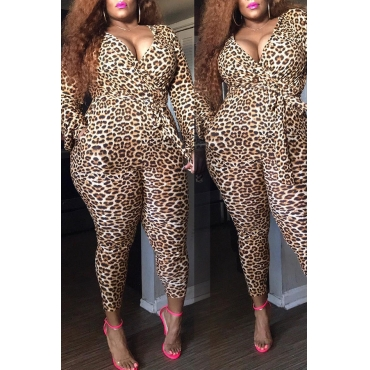 Lovely Casual V Neck Leopard Printed Plus Size One-piece Jumpsuit