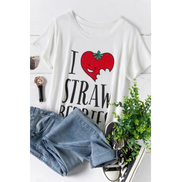 Lovely Casual O Neck Letter Printed White Plus Size T-shirt