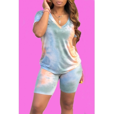 Lovely Casual V Neck Baby Blue Two-piece Shorts Set