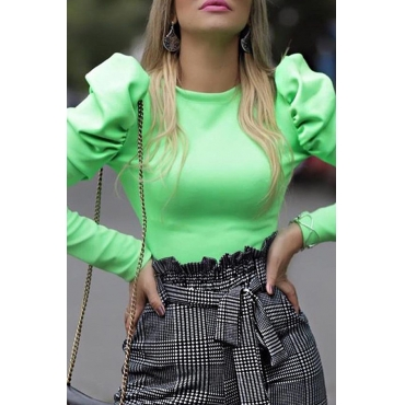 Lovely Casual O Neck Hubble-bubble Sleeve Green Blouse