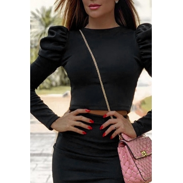 Lovely Casual O Neck Hubble-bubble Sleeve Black Blouse