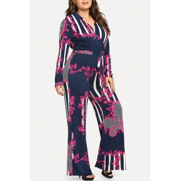 Lovely Casual Striped Rose Red Plus Size One-piece Jumpsuit