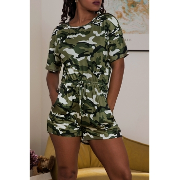 Lovely Trendy Camouflage Printed One-piece Romper