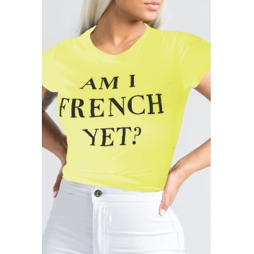 Lovely Casual O Neck Letter Printed Yellow T-shirt