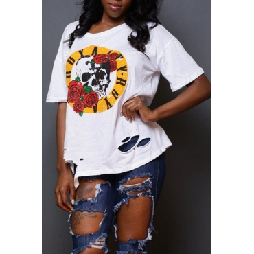 Lovely Casual O Neck Floral Printed White T-shirt